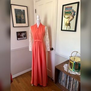 70s Vintage Coral Maxi Dress with Lace Sleeves